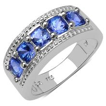 1.40 Carat Genuine Tanzanite .925 Streling Silver Ring