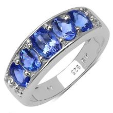 14K Yellow Gold Plated 1.42 Carat Genuine Tanzanite .925 Sterling Silver Ring