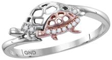 Sterling Silver Womens Round Natural Diamond Rose Turtle Animal Fashion Band Ring 1/20 Cttw