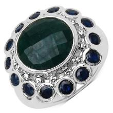 7.02 Carat Genuine Dyed Emerald & Blue Sapphire .925 Sterling Silver Ring