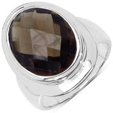 7.90 Carat Genuine Smoky Quartz Sterling Silver Ring