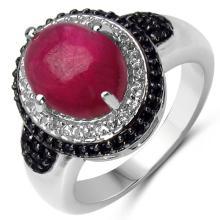 5.14 Carat Genuine Ruby, Black Spinel & White Topaz .925 Sterling Silver Ring