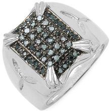 0.41 Carat Genuine Blue Diamond .925 Sterling Silver Ring