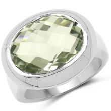 7.90 Carat Genuine Green Amethyst .925 Sterling Silver Ring
