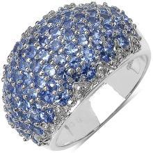 2.90 Carat Genuine Tanzanite and 0.10 ct.t.w Genuine Diamond Accents Sterling Silver Ring