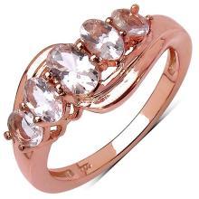 14K Rose Gold Plated 1.35 Carat Genuine Morganite .925 Streling Silver Ring