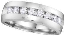 14kt White Gold Mens Round Diamond Wedding Anniversary Band Ring 1.00 Cttw