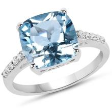 5.33 Carat Genuine Blue Topaz & White Topaz .925 Sterling Silver Ring