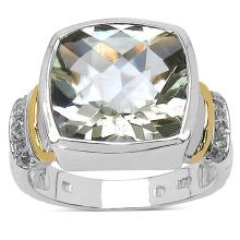 Two Tone Plated 6.40 Carat Green Amethyst and White Topaz .925 Sterling Silver Ring
