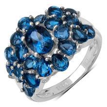 4.84 Carat Genuine Blue Topaz .925 Streling Silver Ring