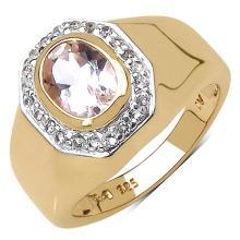 14K Yellow Gold Plated 1.42 Carat Genuine Morganite & White Topaz .925 Streling Silver Ring