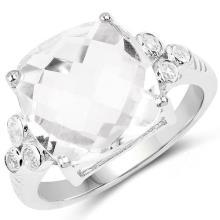 5.63 Carat Genuine Crystal Quartz & White Topaz .925 Sterling Silver Ring