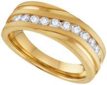 10kt Yellow Gold Mens Round Natural Diamond Band Wedding Anniversary Ring 1.00 Cttw