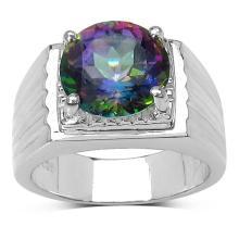 4.70 Carat Genuine Mystic Topaz Sterling Silver Ring
