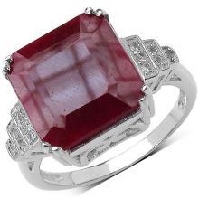 9.82 Carat Genuine Ruby & White Topaz .925 Streling Silver Ring