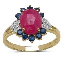 14K Yellow Gold Plated 1.47 Carat Genuine Pink Sapphire, Blue Sapphire & White Topaz .925 Sterling Silver Ring