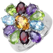 0.80 Carat Citrine Ring with 4.90 ct. t.w. Multi-Gems in Sterling Silver