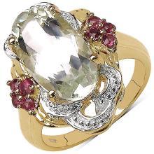 14K Yellow Gold Plated 4.65 Carat Genuine Green Amethyst & Rhodolite .925 Sterling Silver Ring