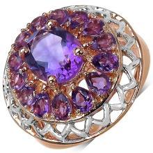 14K Rose Gold Plated 5.00 Carat Genuine Amethyst Sterling Silver Ring
