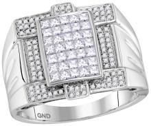 14kt White Gold Mens Princess Natural Diamond Square Cluster Fashion Ring 1 & 3/8 Cttw