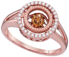 10kt Rose Gold Womens Round Cognac-brown Colored Diamond Moving Twinkle Fashion Ring 3/8 Cttw