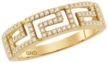 10kt Yellow Gold Womens Round Diamond Greek Key Band Ring 1/5 Cttw