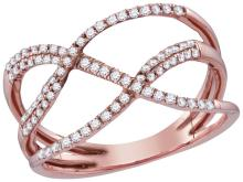10kt Rose Gold Womens Round Natural Diamond Open Strand Crossover Fashion Band Ring 1/3 Cttw