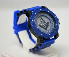 BLUE MASONIC WATCH WITH STUDDED SILVER AND SILVER BACK