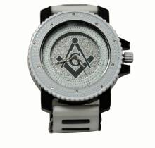 INTRIGUING WHITE AND BLACK MASONIC WATCH W/SILVER BACK