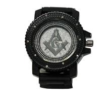 MODERN BLACK MASONIC WATCH WITH SILVER BACK GROUND