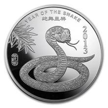 5 oz Silver Round - (2013 Year of the Snake) #74574v3