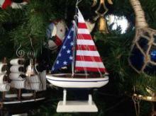 USA FLAG SAILBOAT ORNAMENT #49711v2