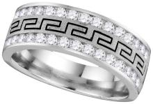 14k White Gold Mens Natural Round Diamond Grecco Wedding Anniversary Band 1/2 Cttw
