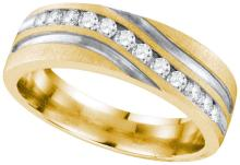 10k Yellow Gold Mens Natural Round Diamond 2-tone Wedding Anniversary Band Ring 1/4 Cttw