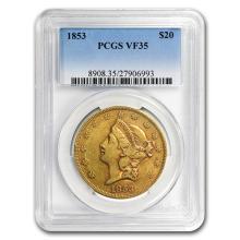 1853 $20 Liberty Gold Double Eagle VF-35 PCGS