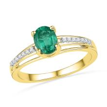 10kt Yellow Gold Womens Oval Lab-Created Emerald Solitaire Fashion Ring 1/12 Cttw
