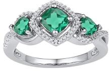 10kt White Gold Womens Princess Lab-Created Emerald 3-stone Diamond Ring 1-3/8 Cttw