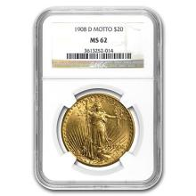 1908-D $20 St. Gaudens Gold w/Motto MS-62 NGC