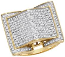 10kt Yellow Gold Mens Round Natural Diamond Arched Square Cluster Fashion Ring 3/4 Cttw