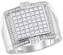 14kt White Gold Mens Princess Natural Diamond Square Luxury Cluster Fashion Ring 2 & 1/12 Cttw