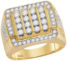 10kt Yellow Gold Mens Round Natural Diamond Square Cluster Fashion Ring 2.00 Cttw