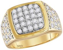 14kt Yellow Gold Mens Round Natural Diamond Square Cluster Fashion Ring 1 & 3/4 Cttw