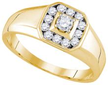 14kt Yellow Gold Mens Round Natural Diamond Cluster Fashion Ring 1/2 Cttw