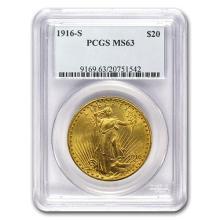 1916-S $20 St. Gaudens Gold Double Eagle MS-63 PCGS
