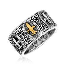 18K Yellow Gold & Sterling Silver Fleur De Lis Baroque Ring