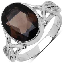 4.37 Carat Genuine Smoky Topaz .925 Sterling Silver Ring