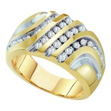10K Yellow-gold 0.50CTW DIAMOND MENS FASHION BAND