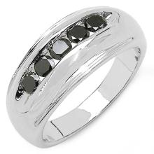 0.50 Carat Genuine Black Diamond .925 Streling Silver Ring