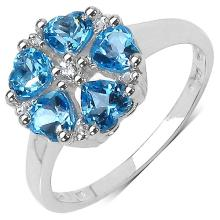1.45 ct. t.w. Swiss Blue Topaz and White Topaz Ring in Sterling Silver