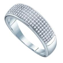 10KT White Gold 0.33CT-DIA MICRO-PAVE MENS BAND